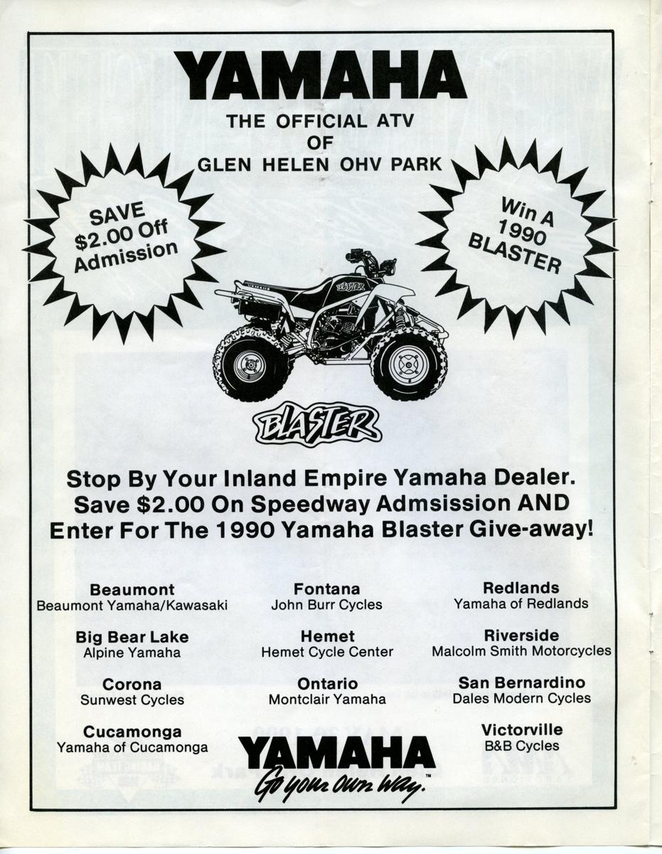 1990 Glen Helen Speedway Programs, by RC Jones